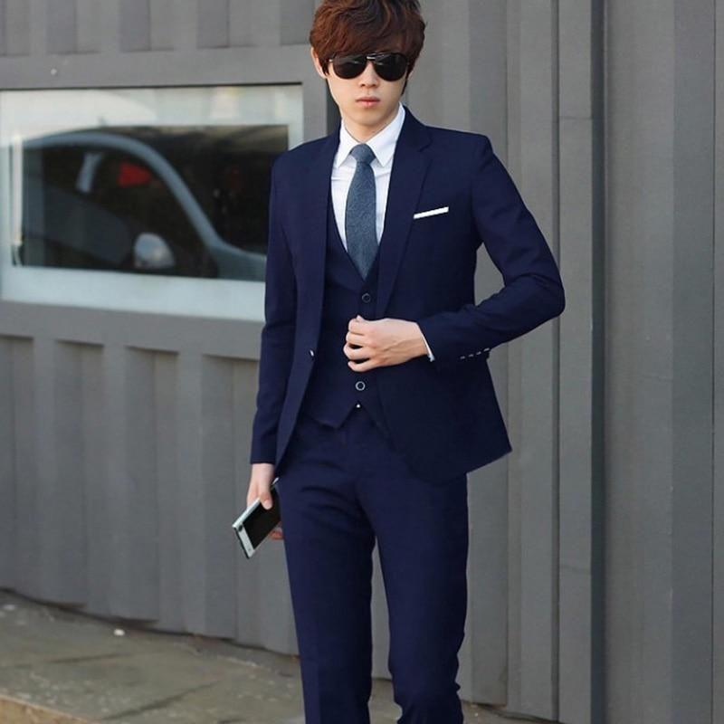 2021 Male Suits Blazer Slim Business Formal Dress Waistcoat Groom Man Suit Office Set Thin Blazer (J