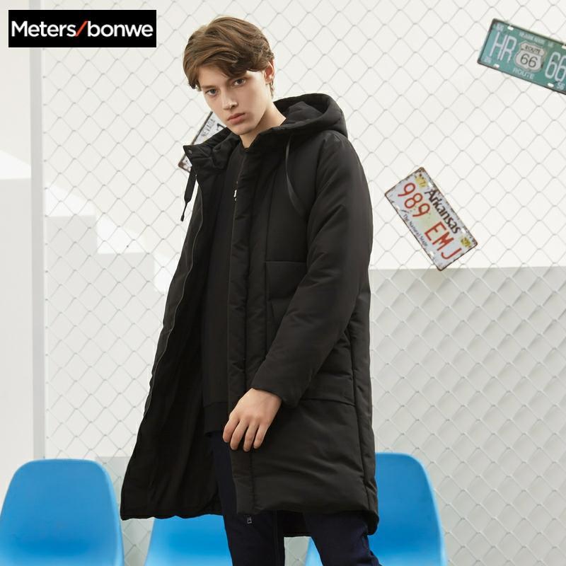 ¡Novedad! Metersbonwe para hombre de abrigo de algodón, chaqueta para otoño e invierno, bolso grande con capucha, traje de algodón, sección larga para hombre