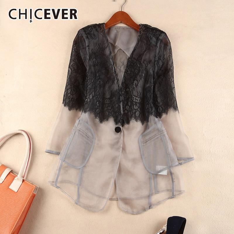 CHICEVER Korean Patchwork Lace Mesh Women's Blazer V Neck Long Sleeve Hit Color Perspective Plus Size Suits Female 2020 Clothes