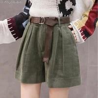 casual streetwear s 5xl plus size shorts for women winter high waist corduroy ladies shorts with belt loose wide leg short femme