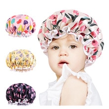 New Kids Satin Shower Cap Floral Print Waterproof Double Layer Bath Hat With Elastic Band Baby Cute