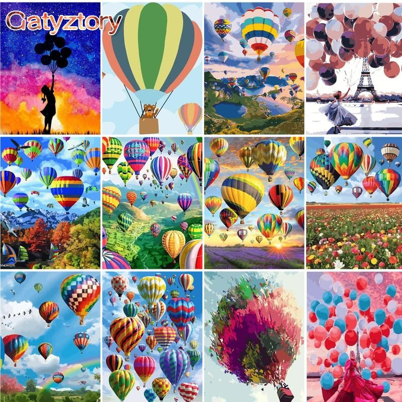 GATYZTORY balloon Painting By Numbers Tower Home Bedroom Wall Artwork DIY Adult Coloring By Numbers Landscape Handpainted Gift