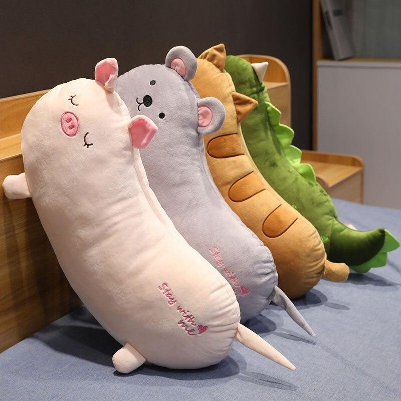 Juguetes creativos de peluche de dinosaurio, ratón de peluche, muñeca Real, juguete suave, almohada de felpa de estilo largo, juguete para niños, regalo para niñas