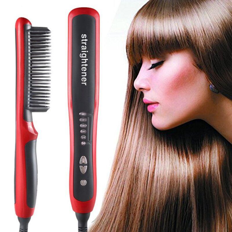Placa de Aquecimento Alisador de Cabelo Cuidados com o Cabelo Alisamento Ferros Rápido Warm-up Profissional Turmalina Cerâmica Barba Pente Quente