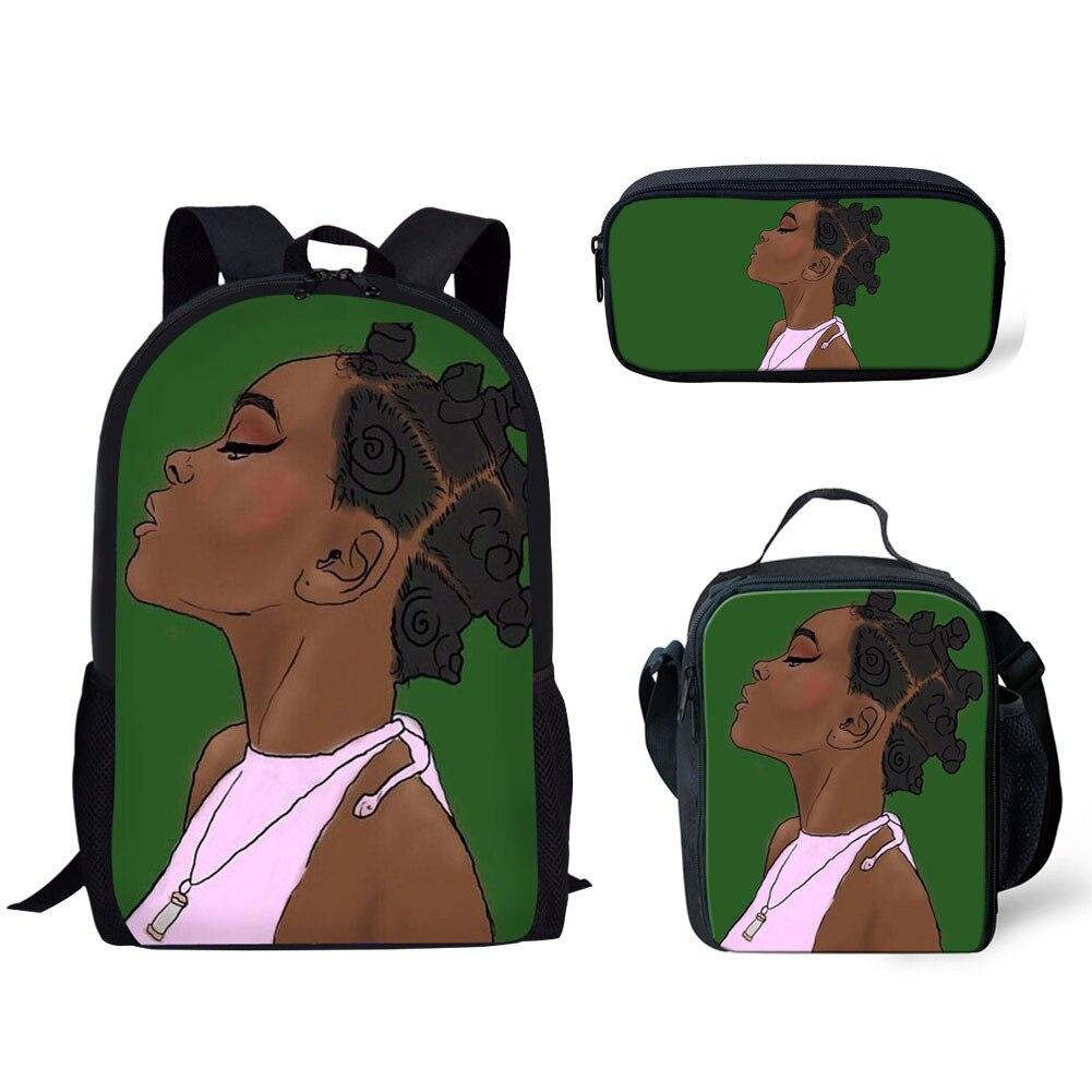 Black Girl Magic Printing Backpacks Women African Bagpack Kids 3pcs/set School Backpack Children Preppy Rucksack