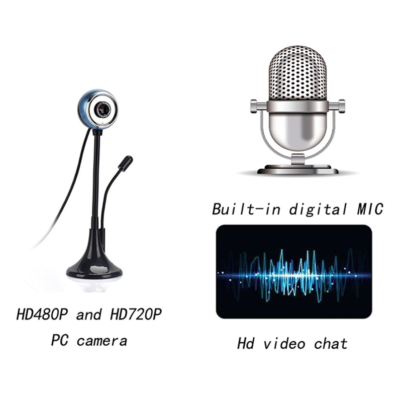 Fabricante de cámara de ordenador USB alta Barra de vídeo de la Oficina de Enseñanza 480p cámara con micrófono Webcams webcam ordenador periférico