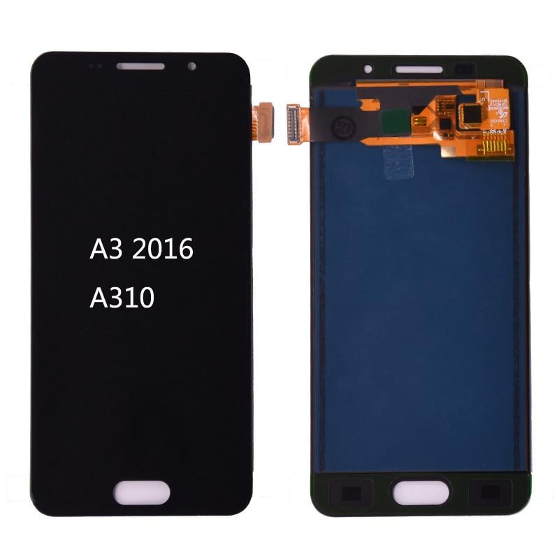 Для Samsung Galaxy A3 2016 A310 lcd A310F A310H A310M A310Y ЖК-дисплей кодирующий преобразователь сенсорного экрана в сборе регулировка яркости
