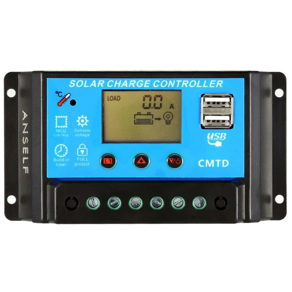 10a 12v 24v funcao de exibicao atual controlador de carga solar regulador automatico