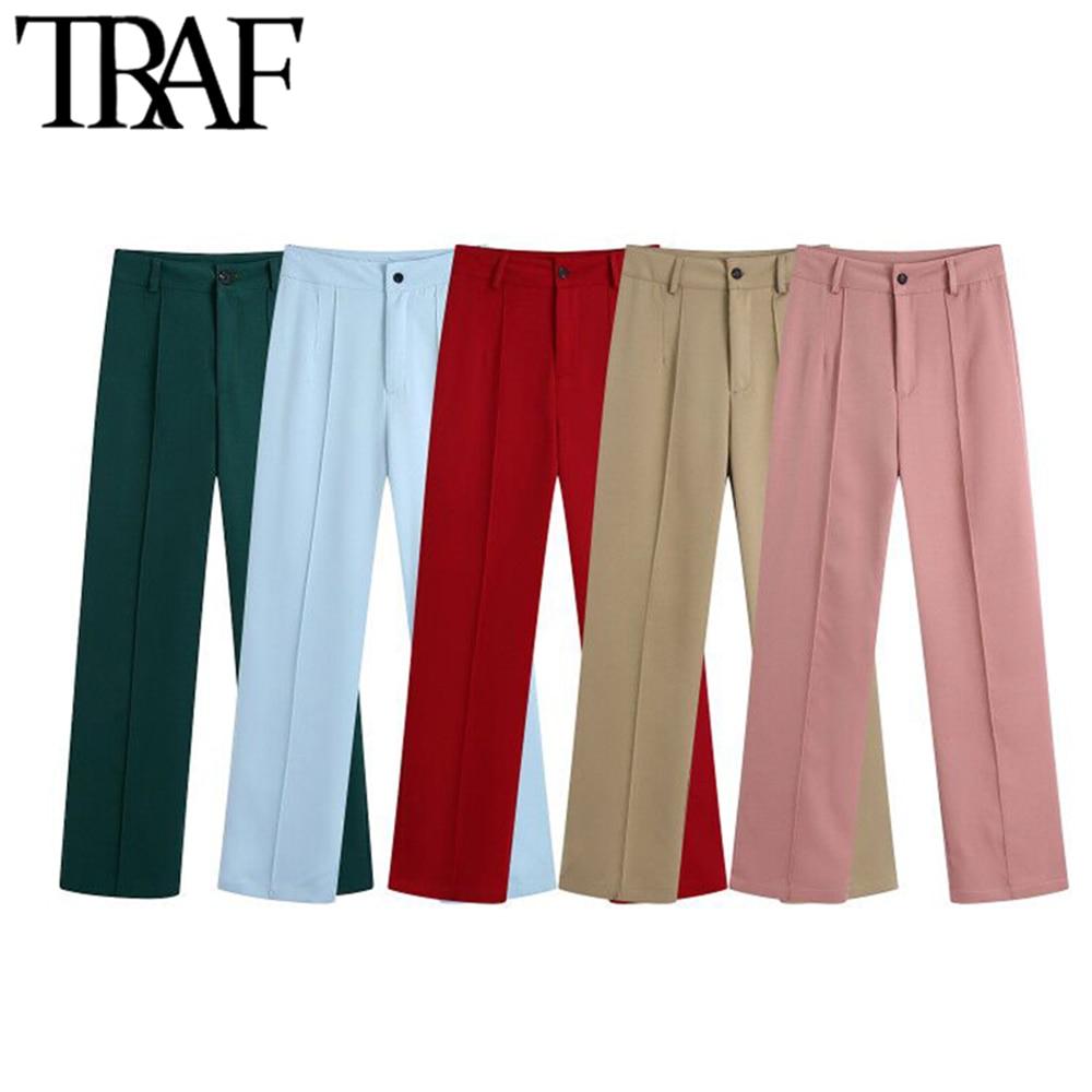 TRAF Women Fashion Office Wear Side Pockets Straight Pants Vintage High Waist Zipper Fly Female Trousers Mujer
