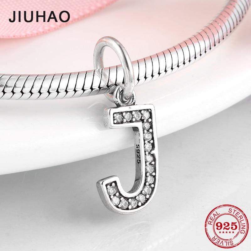 925 Sterling Silver Letter J Clear CZ crystal Beads Alphabet charm Fit Original Charm Pandora Bracelets Necklace Jewelry making