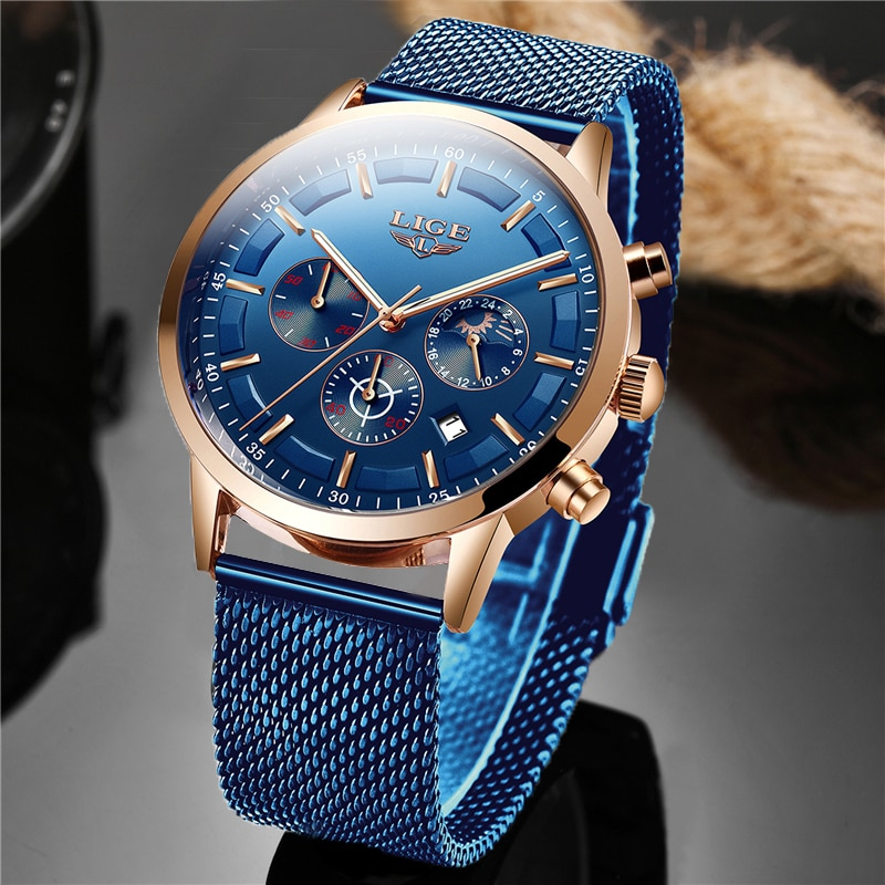 LIGE Top Brand Luxury New Fashion Simple Watch for Men Blue Dial Watch Mesh Belt Sport Waterproof Watches Moon Phase Wrist Watch