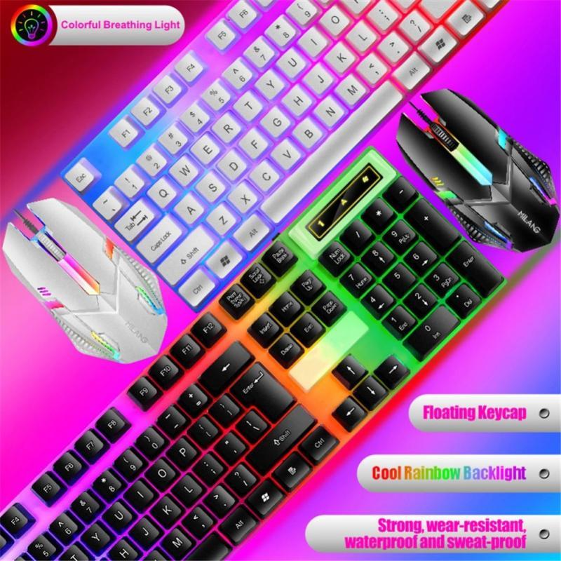 Механическая клавиатура T6, Проводная игровая клавиатура, мышь, набор, радужная светодиодная подсветка, Игровая клавиатура, игровая мышь, на...