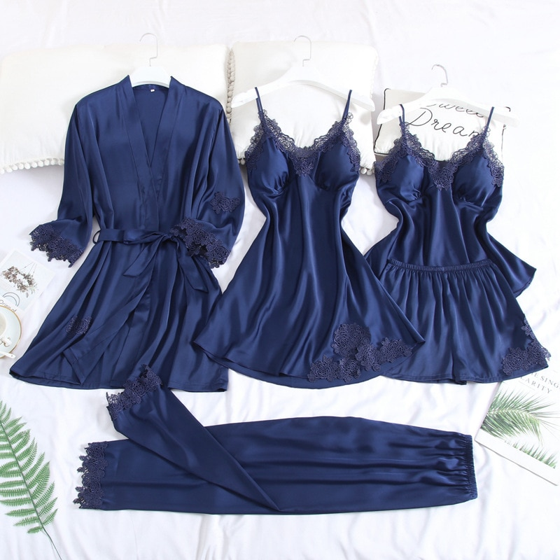 5PCS Robe Set For Female Lace Bride Bridesmaid Wedding Gown Sexy Mini Sleep Set Nightgown Satin Sleepwear Intimate Lingerie