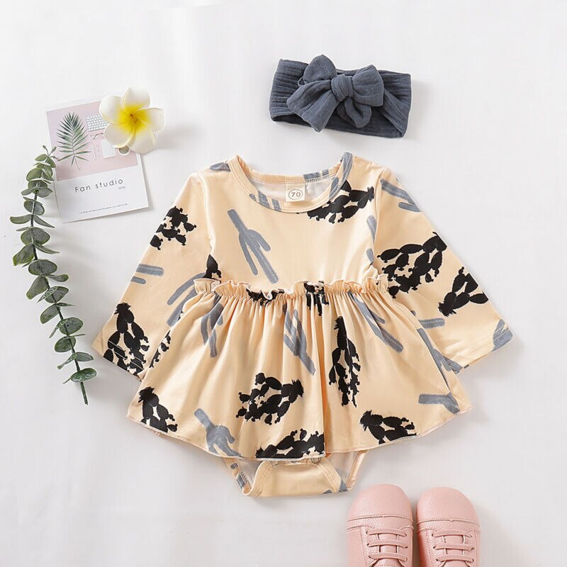 Pudcoco Stock de recién nacido, ropa de bebé niña de manga larga mono impresión mono con cactus + diadema conjunto de trajes de vestir