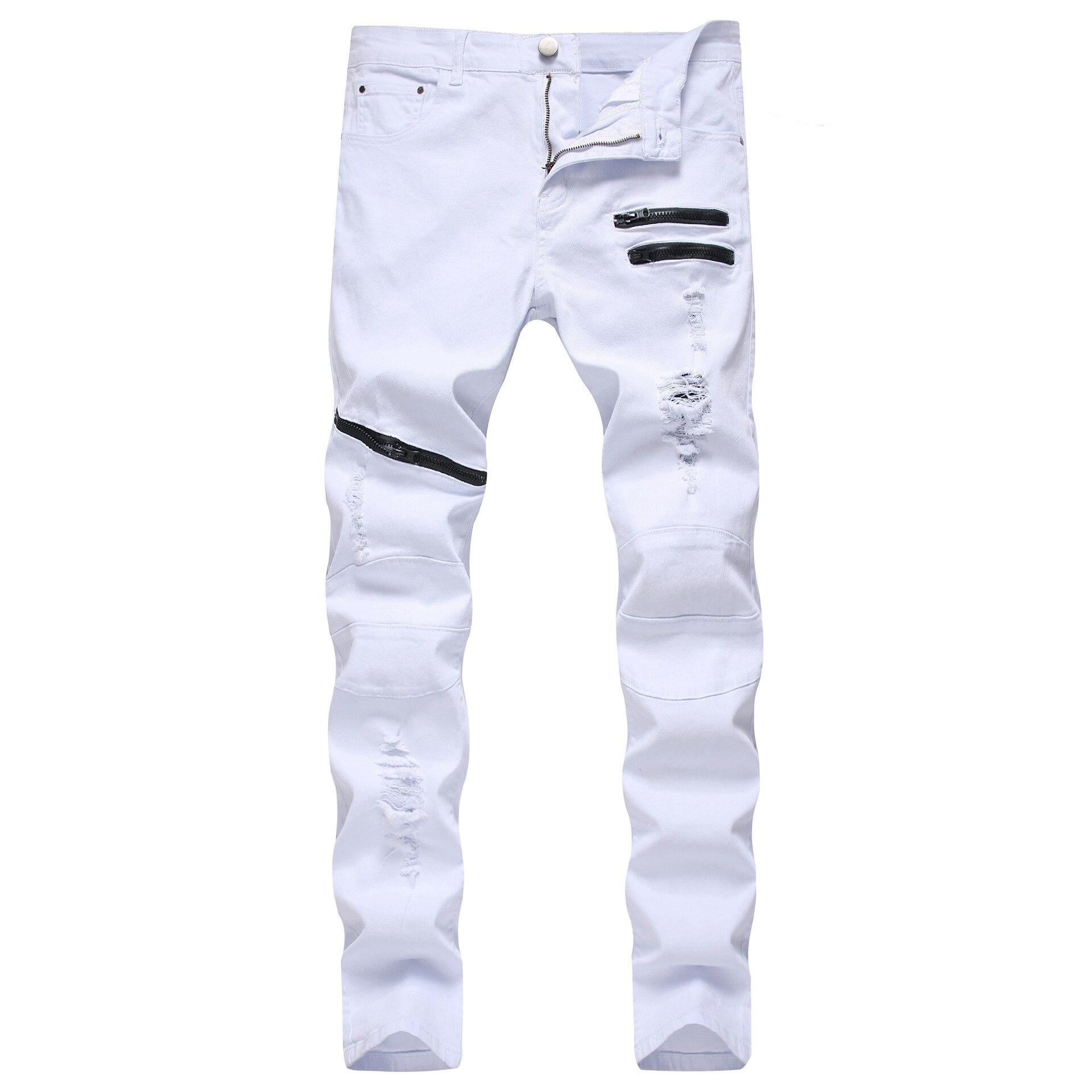 Новые белые мужские джинсы, прямые джинсы на молнии с карманами, мужские брюки, зауженные размера плюс