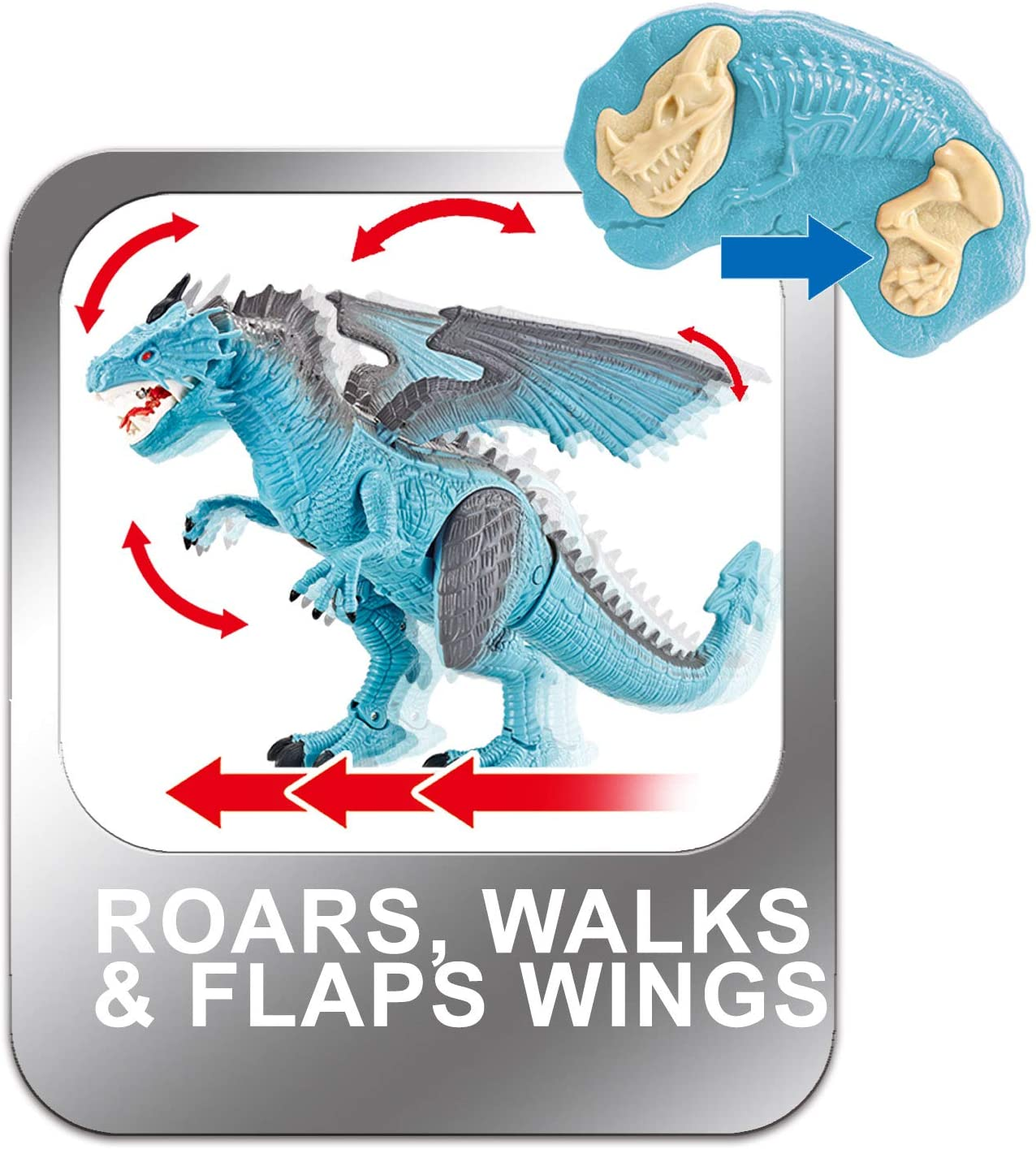 Dino Planet Remote Control RC Walking Dinosaur Toy with Breathing Smoke Shaking Head Light Up Eyes Sounds Ice Dragon with Smoke enlarge