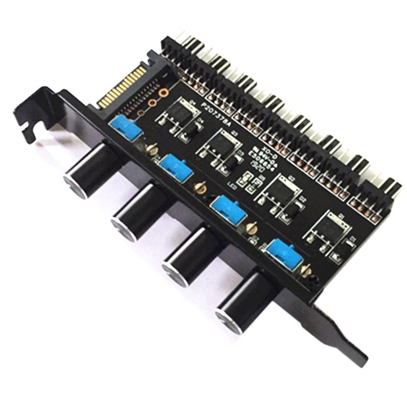Eas-pc 8 canales ventilador Hub 4 perillas ventilador de refrigeración controlador de velocidad para la caja de Cpu Hdd Vga Pwm ventilador Pci soporte alimentación por Control de ventilador 12V