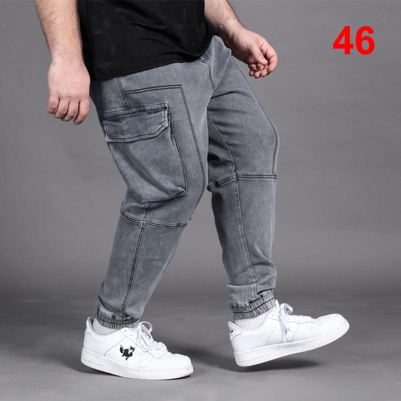 Big Size Baggy Pants Men Plus Size Cargo Denim Pants Loose Jeans Casual Skateboard Trousers Men Elastic Waist Oversize 46 HX437