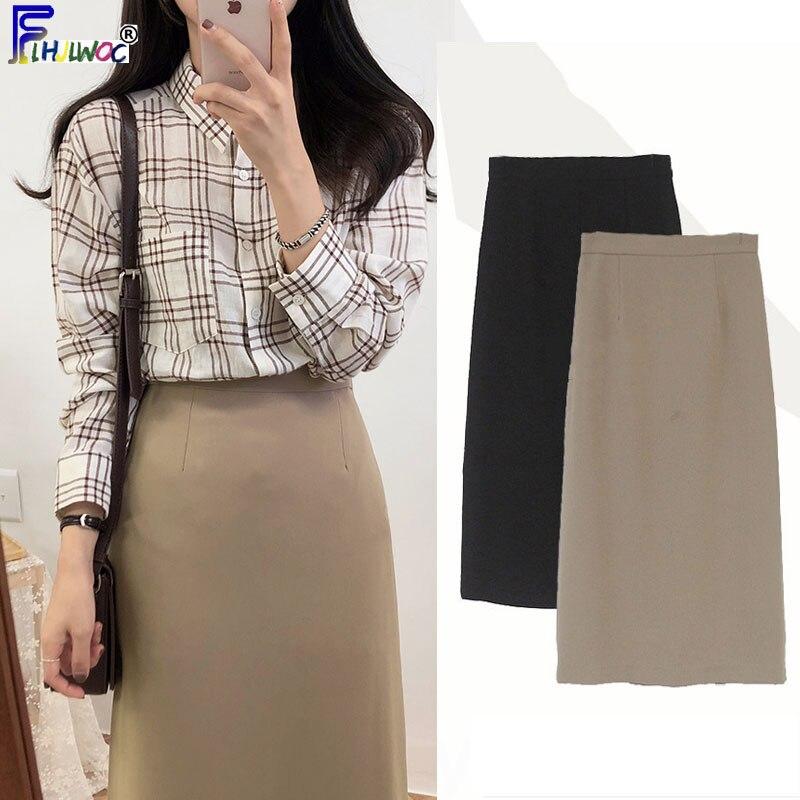 Faldas de terciopelo de Invierno para mujer Diseño de Moda de estilo coreano para niñas invierno cálido negro Falda larga de terciopelo interior 10318