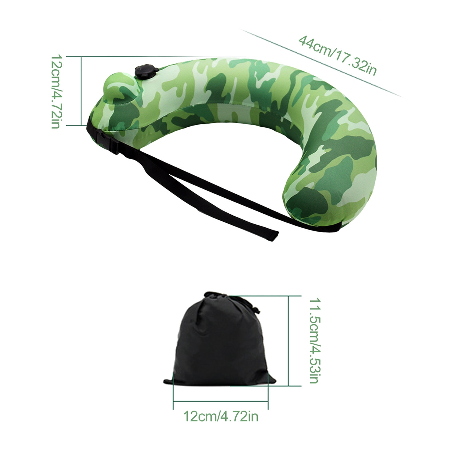 Portable Swim Ring Semi-circular Waterproof Camouflage Thickened Inflatable Pillow For Kids Adults Swimming Beginner  - buy with discount