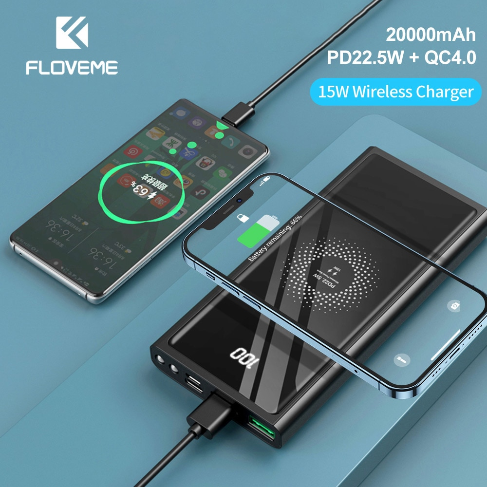 FLOVEME 20000mAh Power Bank PD22.5W Fast Charging USB Type C Portable Extrenal Battery Charger 15W W