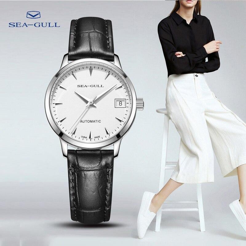 Seagull watch ladies mechanical watch business simple belt automatic mechanical watch calendar watch waterproof 6042L