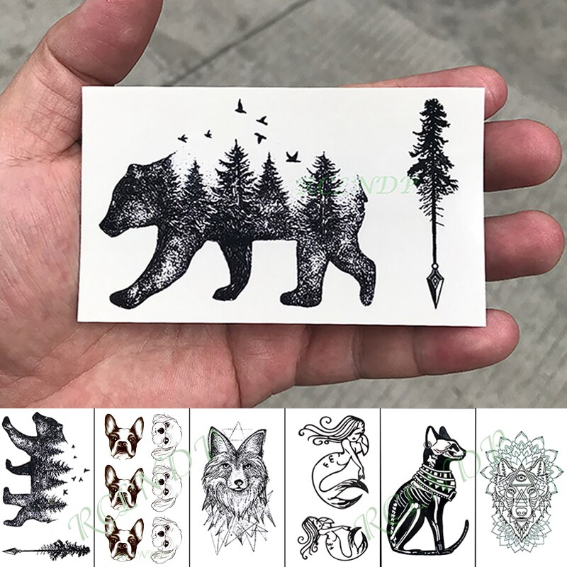 Tatuaje temporal a prueba de agua pegatina oso árbol perro Lobo tatuaje falso mano brazo Flash tatuaje pequeño tatuajes para chico chica hombres mujeres