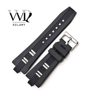 Rolamy 26x9mm Watch Band Strap Silicone Rubber High Quality Waterproof Black Replacement Watchband Watch Strap Belt For Bvlgari