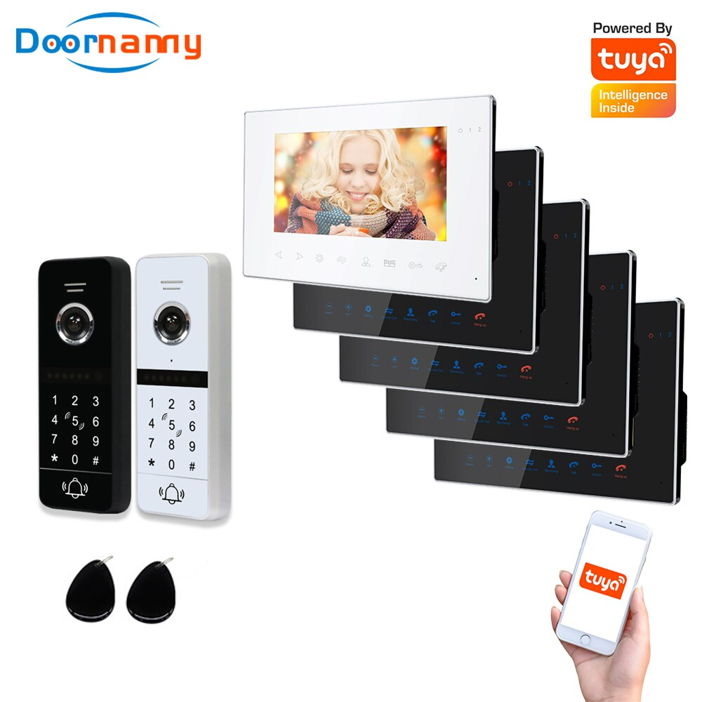 Doornanny WiFi Video Intercom Kit Villa Apartment 2Doors 5Monitor 2Doorphone Video Call AHD 960P Tuya APP Remote Unlock