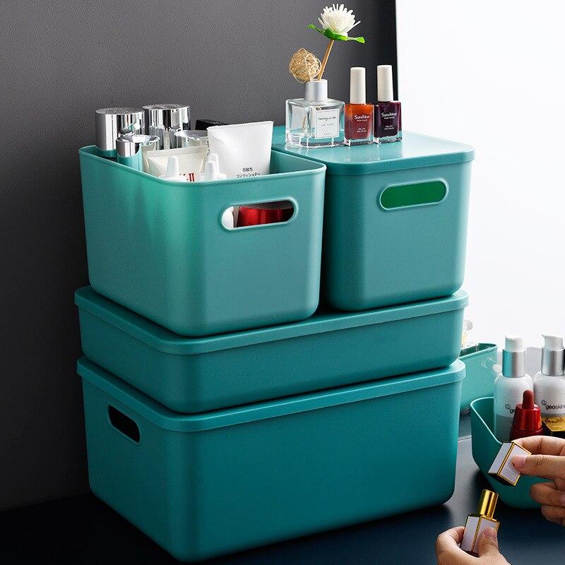 أشتات صندوق تخزين مكتبي وجبة خفيفة سلة التخزين البلاستيك منظم أدوات التجميل عنبر علب تخزين المطبخ
