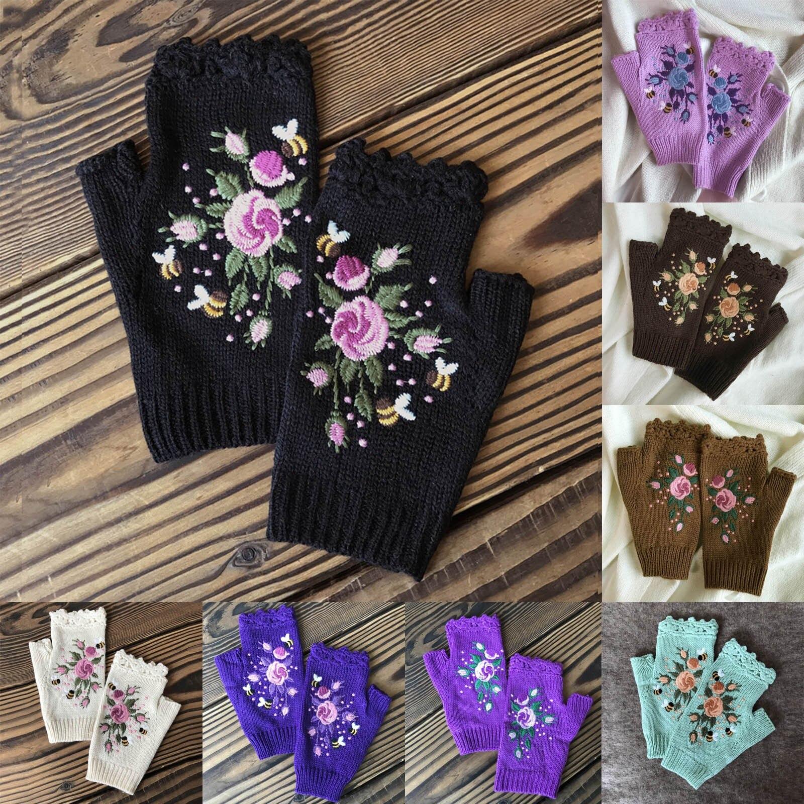Guantes de invierno con bordado Floral para mujer, guantes cálidos, mitones de...