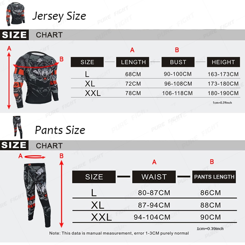 Boxing Set Compression Jersey & Pants 3D Wolf Printing Rashguard KickBoxing Tight Long T-Shirts Trousers Muay Thai MMA Fightwear
