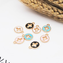 20pcs/lot 11.5 X15mm DIY Metal Enamel Cross Charms Ornament Gold Bracelet Pendants for Necklace Earring Jewelry Making Material