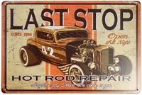 erlood last stop hot rod repair retro vintage decor metal tin sign 12 x 8 inches
