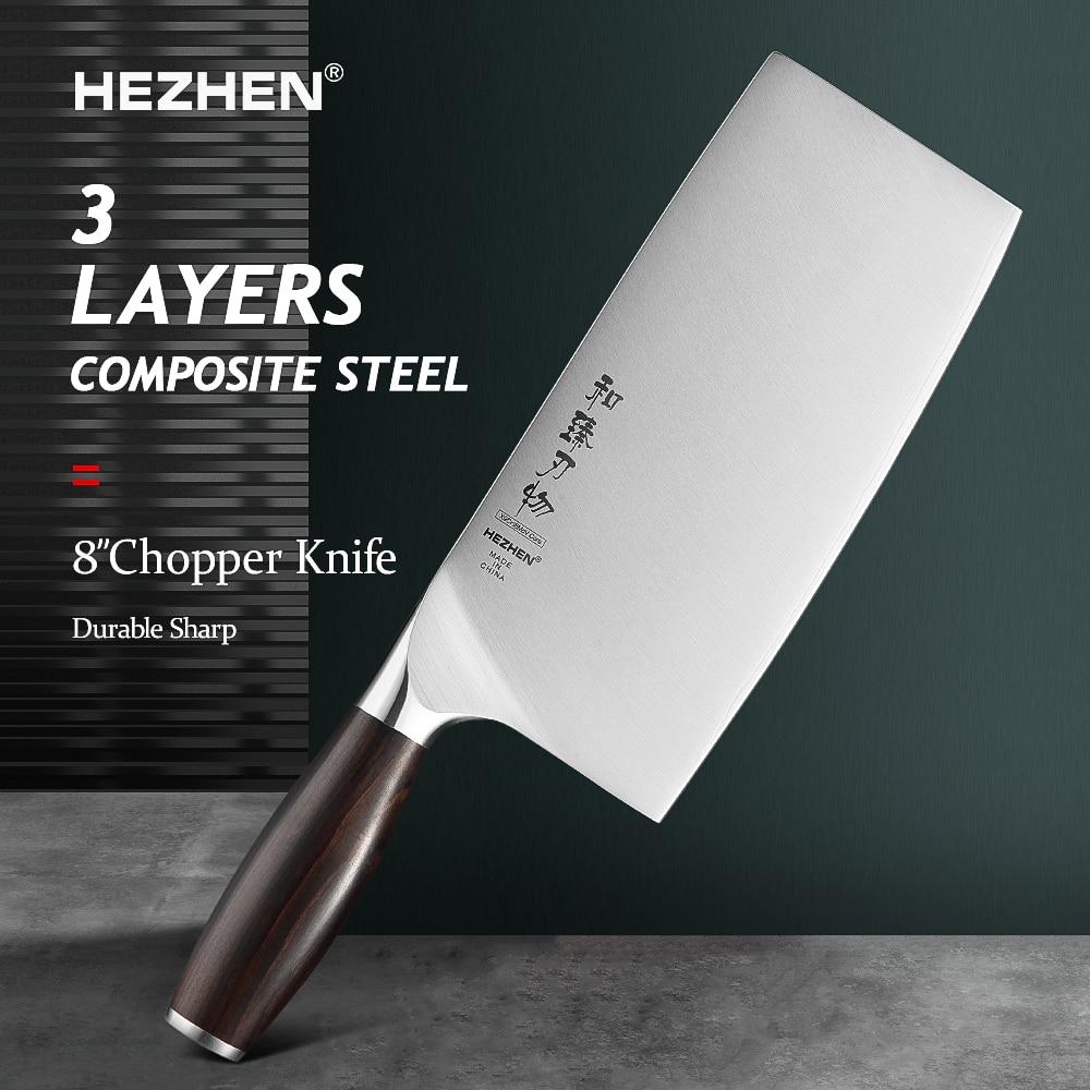 هيتشن-سكين تقطيع ياباني احترافي ، مقبض خشبي ، فولاذ مقاوم للصدأ ، مقاس 8 بوصات