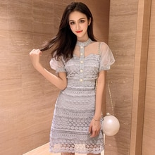2021 Spring New Temperament Mesh Puff Sleeve Lace Dress Tight Waist Slimming Patchwork Lightly Matur