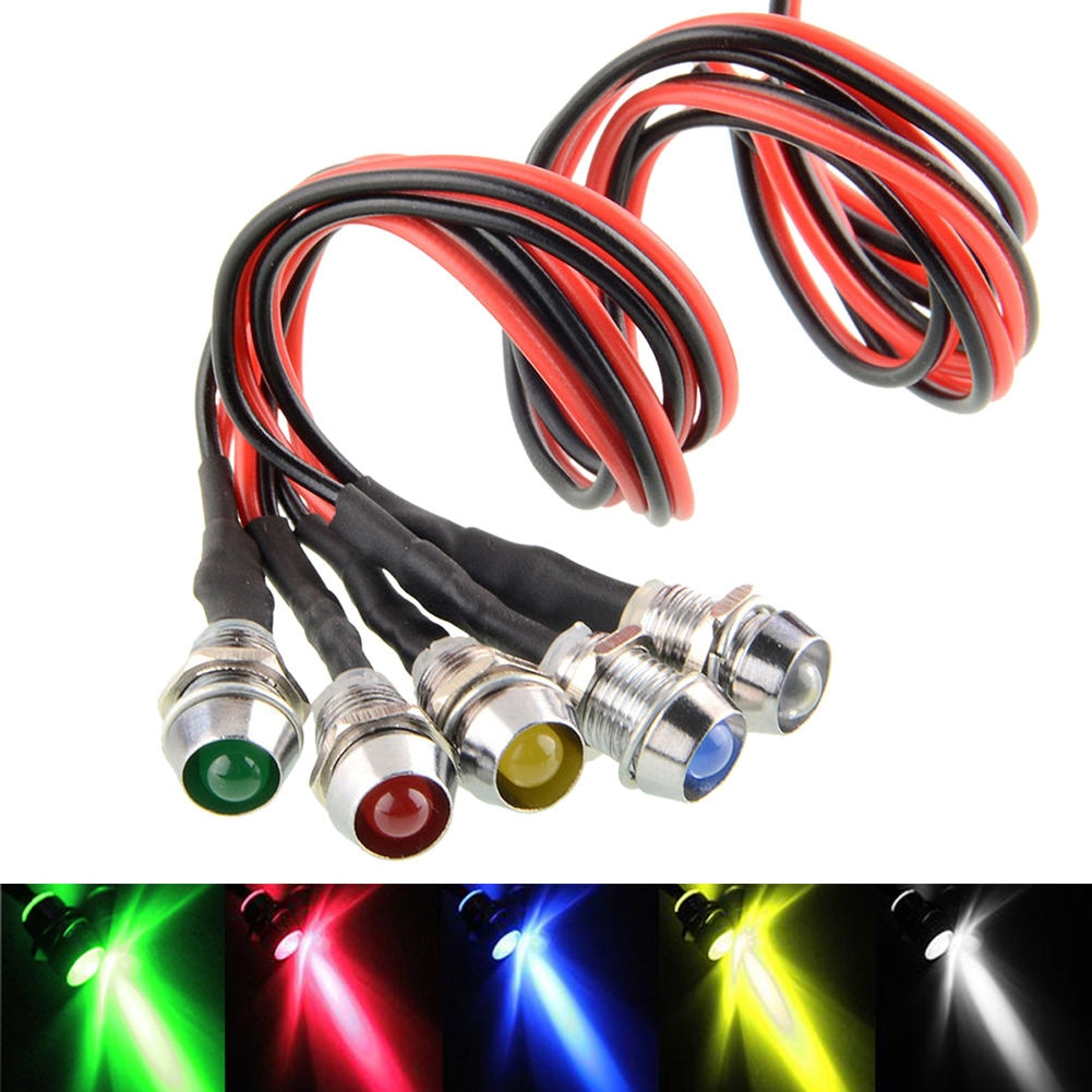 12mm Waterproof Lamp 12V LED Car Boat LED Warning Dashboard Signal Lights Instrument Pilot light Black Chrome finished