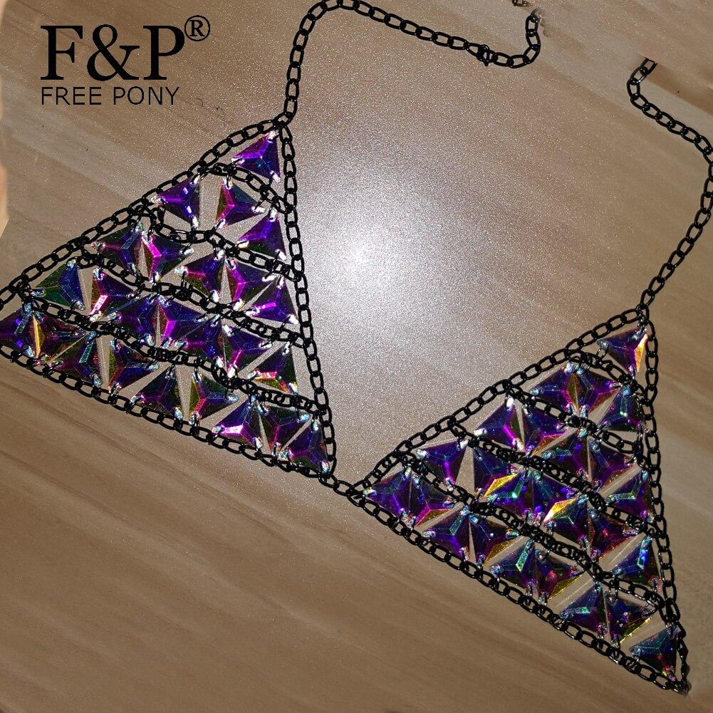 Carnvial fiesta rave trajes cuerpo cadena holográfica cristal Crop superior brillantes Diamante de imitación actuación escénica traje de cantante