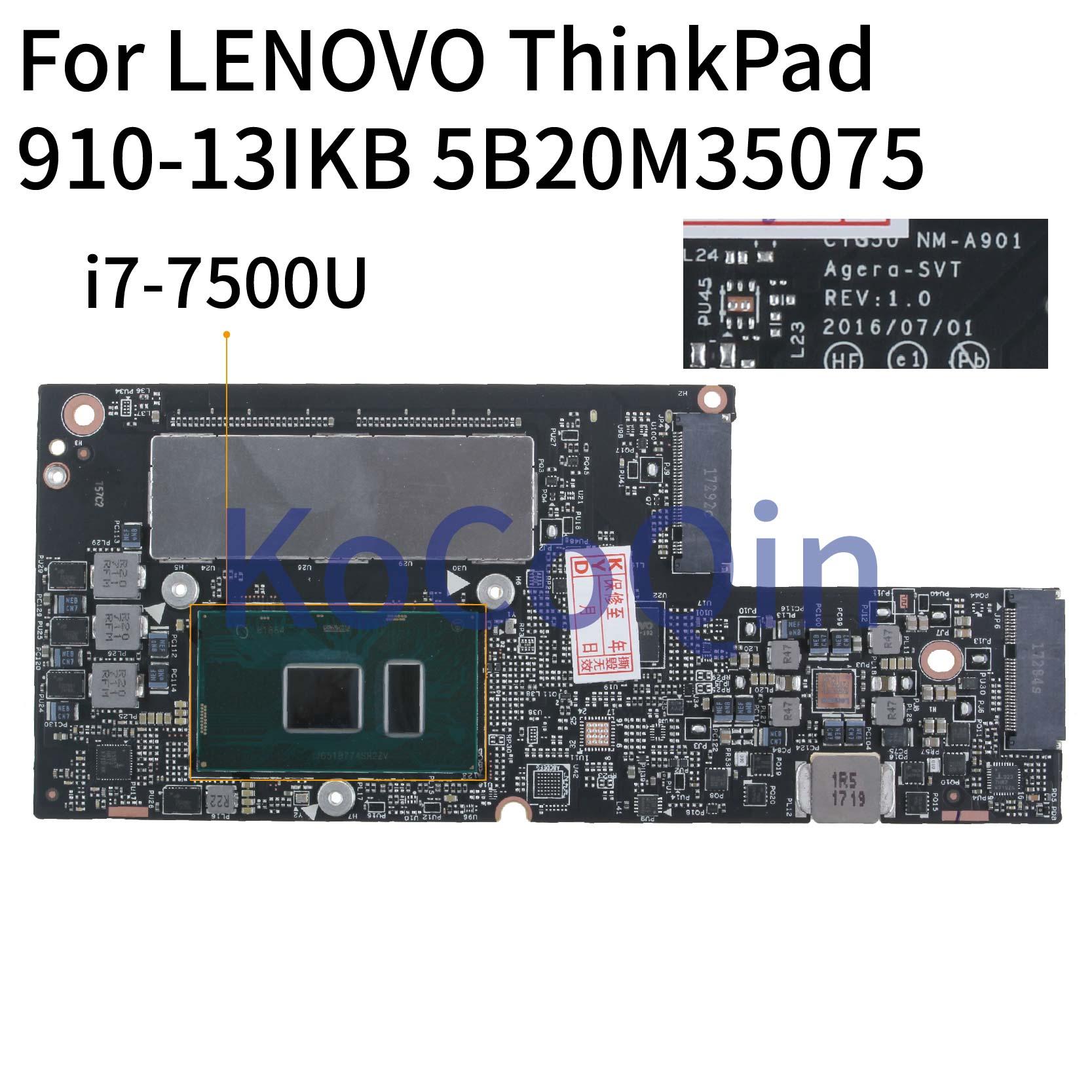 Placa base para ordenador portátil KoCoQin para LENOVO ThinkPad 910-13IKB I7-7500U 8G RAM   CYG50 NM-A901 SR2ZV