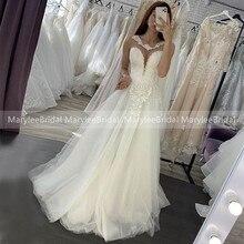 MaryLeeBridal 화이트 여름 웨딩 드레스 Boho 보석 바닥 길이 투명 Tulle 신부 드레스 Appliques 비치 웨딩 드레스
