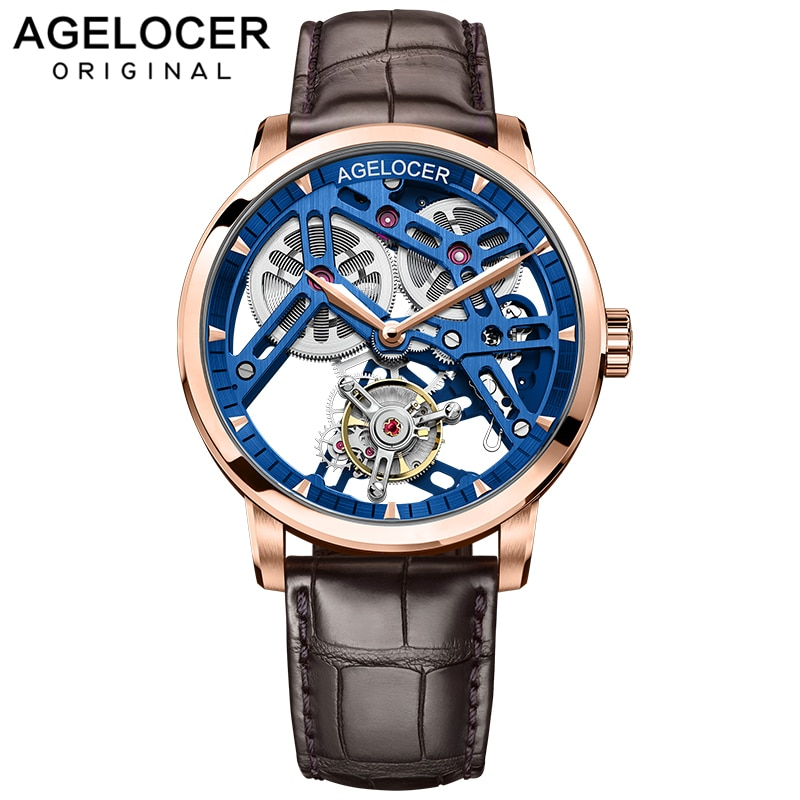 AGELOCER-ساعة ميكانيكية توربيون للرجال ، ساعة يد زرقاء من الياقوت ، ماركة فاخرة ، ساعة رجالية ذهبية