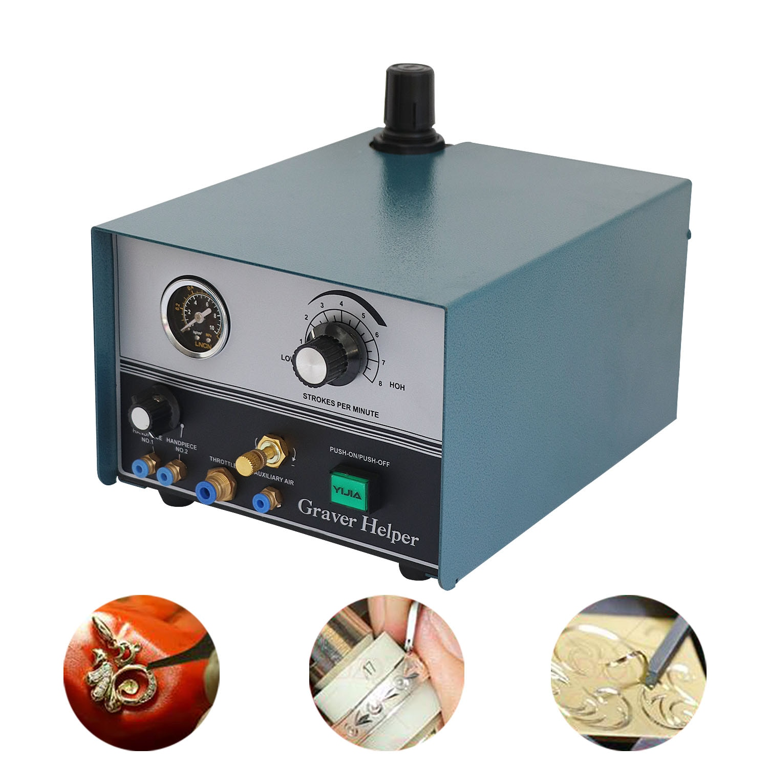 110V/220V Graver Helper Pneumatic Engraving Machine Double-Ended Reel Bead Edge Machine with Two Handpieces Jewelry Tools