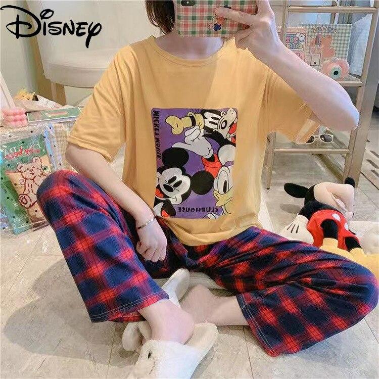 original disney minnie mickey pato donald daisy calcas de manga curta pijamas feminino