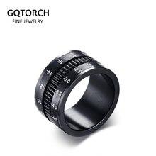 Zwarte Roterende Spinner Ringen Voor Mannen Camera Lens Ontwerp 12mm Titanium Staal mannen Ring Vinger Band Mode-sieraden