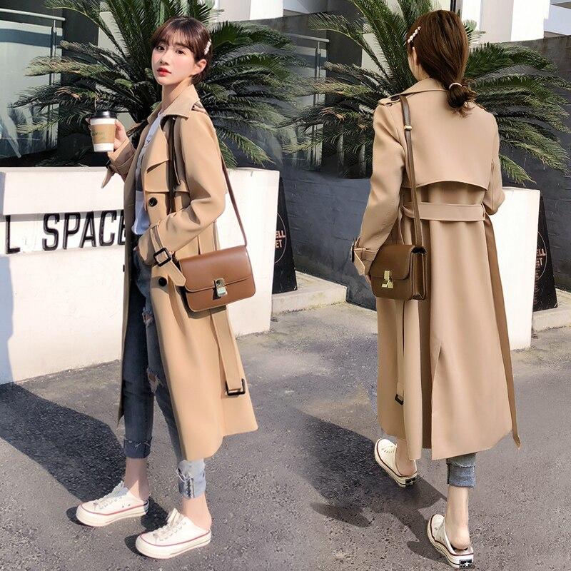 Gabardina Coreana de moda para mujer, Chaqueta larga informal holgada cálida, abrigo Beige para mujer, ropa de otoño para mujer, talla grande MM60WFY