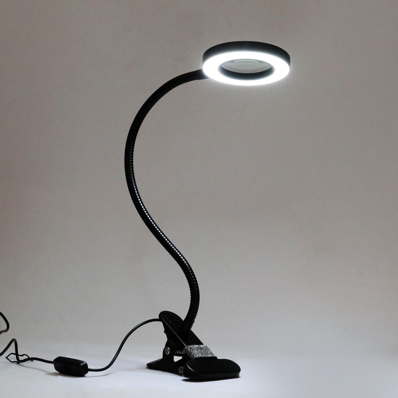 جديد الجدول أعلى مكتب LED مصباح المضاء المكبر كليب على القراءة كبيرة عدسة مكبرة الزجاج مع المشبك