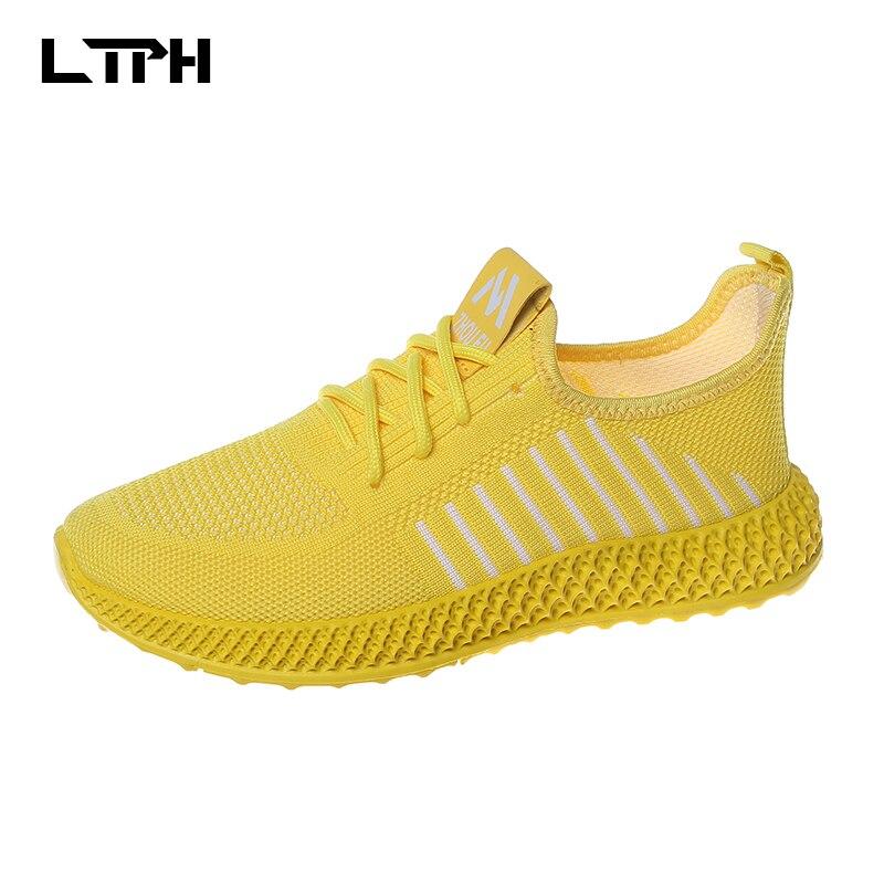 2020 primavera y otoño nuevos zapatos transpirables de color blanco salvaje muffin grueso malla inferior papá zapatos flying woven zapatos deportivos mujeres