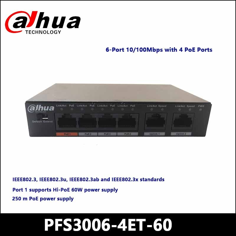 داهوا POE مفاتيح PFS3006-4ET-60 4-ميناء سريع إيثرنت PoE التبديل دعم 802.3af 802.3at POE POE + مرحبا-PoE كاميرا الطاقة