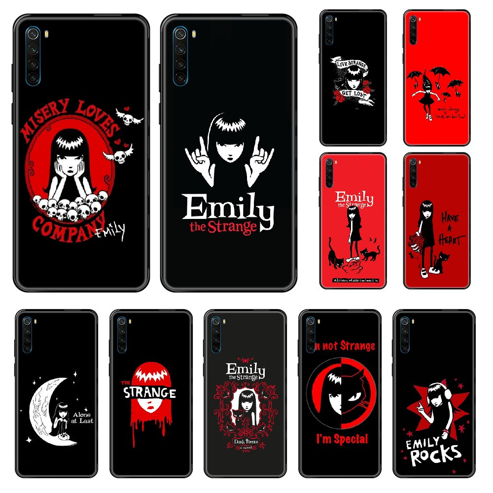 Emily la extraña de dibujos animados funda de teléfono para Xiaomi Redmi Note S2 4 5 5 5 6 6 7 8 X S X Plus Pro Arte Negro parachoques pintura de primer