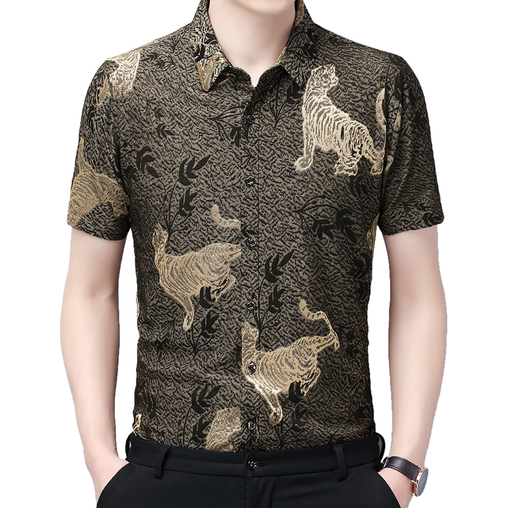 2021 Fashion Summer Short Sleeve Mens Clothing Luxury Hawaiian Print Shirt for Men Shirts Vintage Streetwear Jerseys Dress 1070
